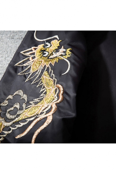 Bird Sleeve Up New Fashion Jacket Dragon Embroidered Arrival Long Unisex Bomber Zip RppSqw1axz