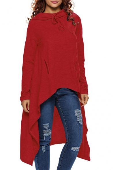 New Collection Fashion High Low Hem Long Sleeve Simple Plain Hoodie