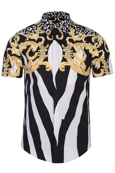 New Fashion Digital Color Block Lapel Collar Short Sleeve Buttons Down Shirt