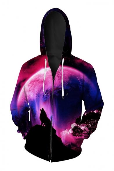 New Trendy Casual Oversize Unisex Digital Moon Wolf Printed Zip Up Sports Hoodie