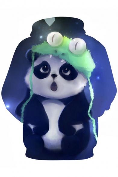 Trendy New Print Sports Cartoon Panda Unisex Sleeve Little Long Hoodie Cute TdwrXxqSd
