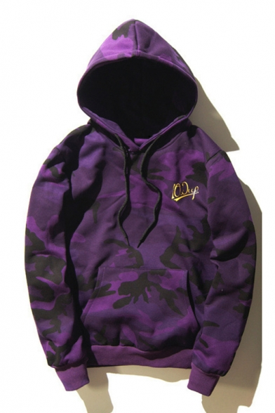 Purple Camouflage Letter Printed Unisex Loose Leisure Long