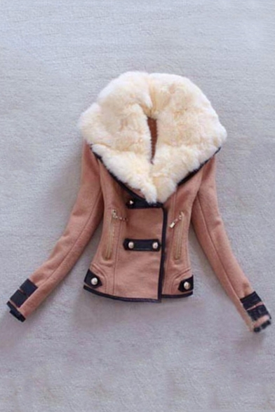 Winter's Hot Fashion Fur Collar Chic Color Block Double Breasted Coat