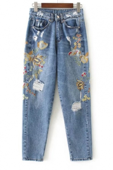 Women's Floral Embroidered Ripped Knee Zipper Fly Jeans