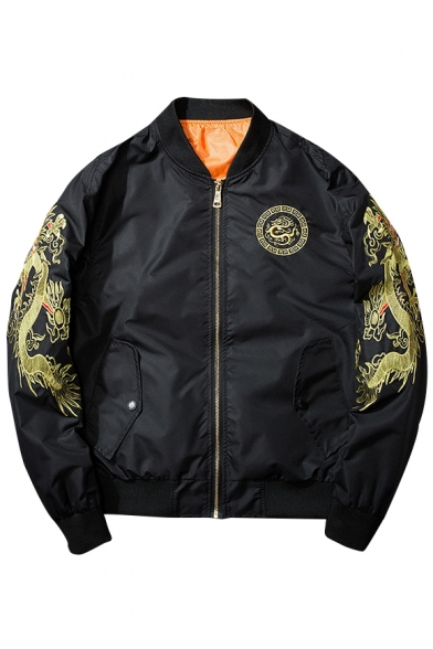 Chic Dragon Embroidered Long Sleeve Stan-Up Collar Zip Up Unisex Bomber Jacket
