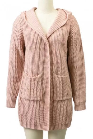 Chic Cardigan Hooded Plain Long Sleeve Pockets Up Lace with Coat Double Simple Back rwnpCHrqx8