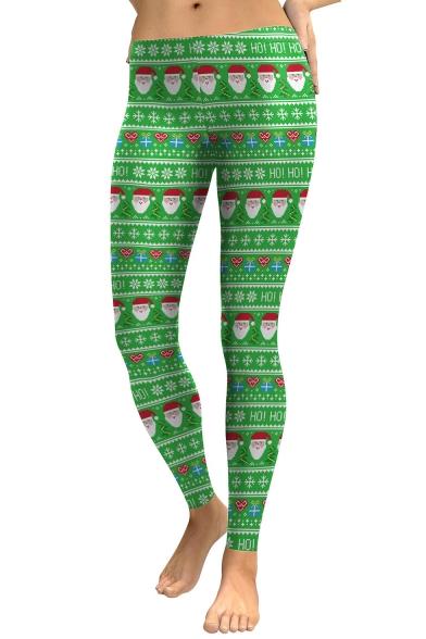 Fashion Christmas Santa Claus Pattern Elastic Waist Skinny Leggings