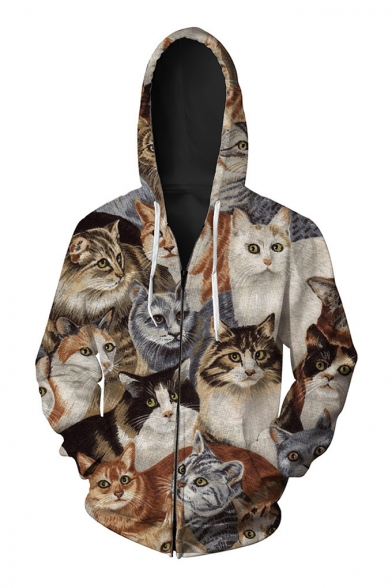 Digital Long Family Of Zip Printed Up Hoodie Fashion Sleeve Leisure Cats Casual HdwXqUR