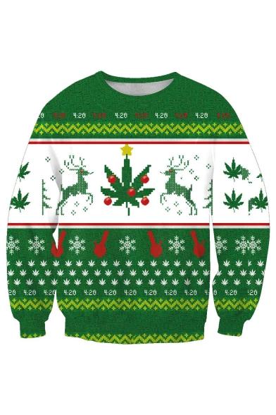 Round Leisure Pullover Neck Christmas Sweatshirt Long Sleeve Printed Geometric gIABA