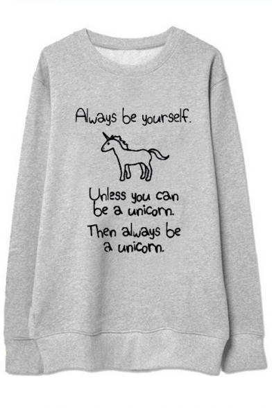 Hot Fashion Unicorn Letter Printed Long Sleeve Round Neck Pullover Sweatshirt