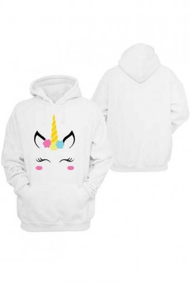 Cartoon Hoodie Pockets Unicorn Leisure Hot Popular Long Sleeve with Pattern xpS1S0q5w