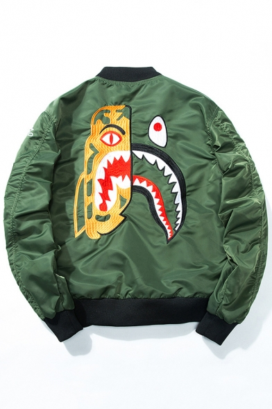 New Collection Cartoon Animal Pattern Stand-Up Collar Long Sleeve Zip Up Bomber Jacket