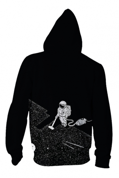 Digital Astronaut New Hoodie Long Zip Pattern Sleeve Casual Collection Up qIwgwt1