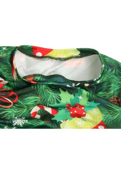 New Fashion Digital Christmas Trees Pattern Round Neck Long Sleeve Maxi Dress
