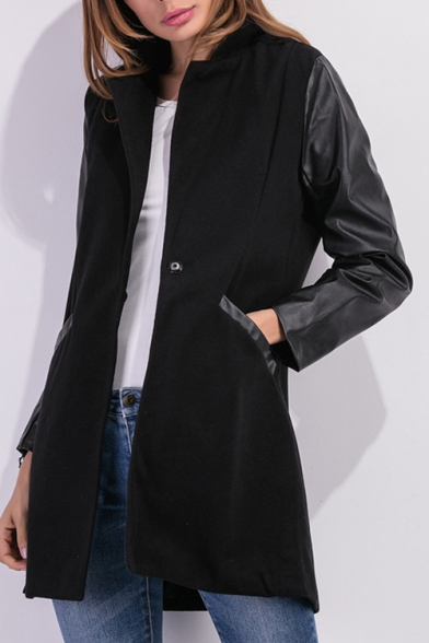 Stand-Up Collar Faux Leather Panel Long Sleeve Trench Coat