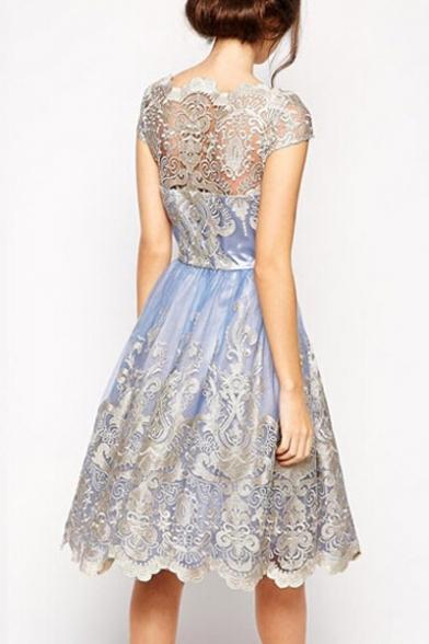 Vintage Lace Crochet Color Block Short Sleeve Midi Fit & Flare Dress
