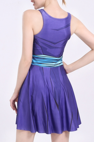 3D Fashion Printed Scoop Neck Sleeveless Casual Sports Mini A-Line Dress