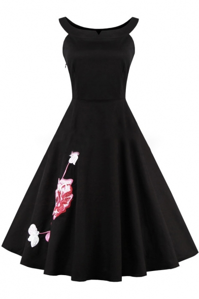 Chic Floral Embroidered Boat Neck Sleeveless Graceful Midi Flared Dress