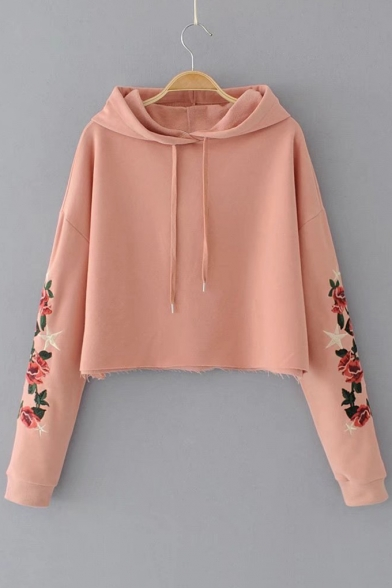 Chic Floral Embroidered Long Sleeve Loose Leisure Cropped Hoodie