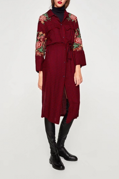 Chic Floral Embroidered Plaids Print Lapel Collar Buttons Down Midi Shirt Dress