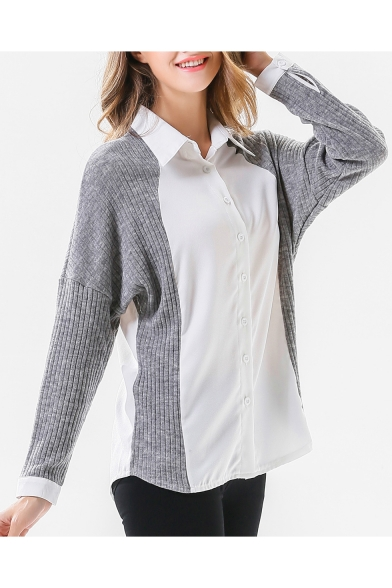 Buttons Long Lapel Shirt Patchwork Collar Knit Block Fashion Down Sleeve Color qwfpZZ