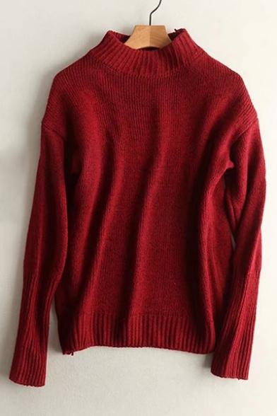 Fashion Mock Neck Long Sleeve Basic Simple Plain Pullover Sweater ...