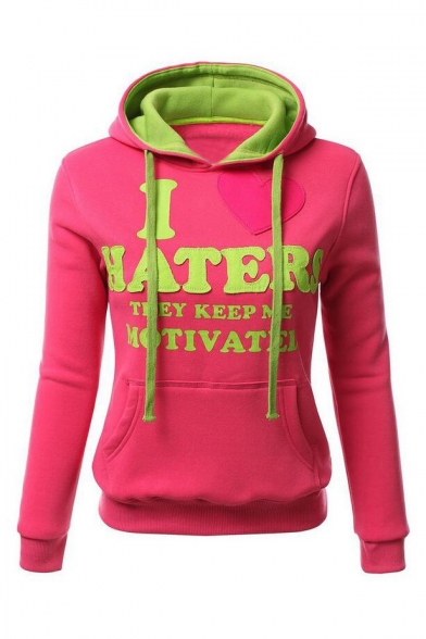 Hoodie Block Color Long New Letter Sleeve Arrival Pattern Slim Chic zaP6q17