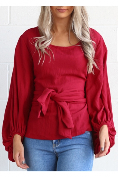 New Arrival Chic Tied Waist Round Neck Lantern Sleeve Plain Pullover Blouse