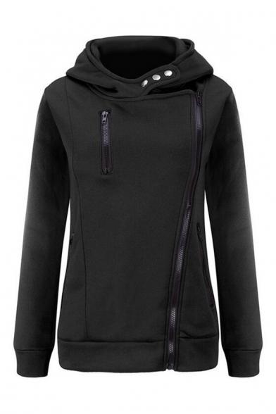 New Simple Hot Side Fashion Basic Zip Slim Arrival Up Plain Hoodie qAqFPCwUrx