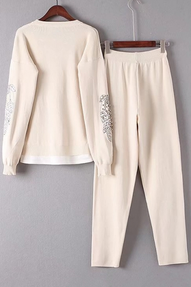New Fashion Beading Embroidered Round Neck Long Sleeve Sweater with Loose Sports Pants