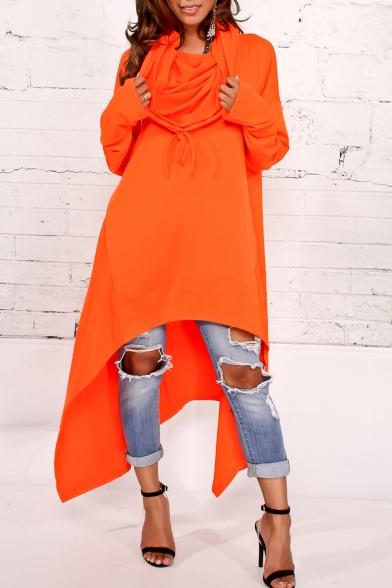 New Fashion Simple Plain Loose Oversize High Low Hem Long Sleeve Tunic Hoodie