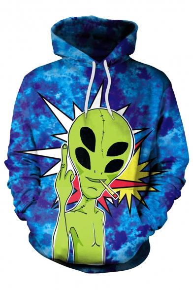 Pattern Sleeve Hoodie Cartoon Casual Stylish Long New Alien Sports tqWw6AAa