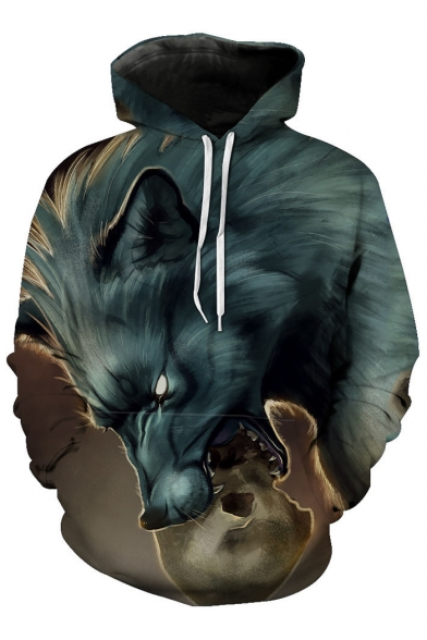 Long Digital Pattern Loose Wolf Oversize Unisex Casual New Hoodie Sleeve Trendy n1Tx10