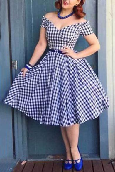 New Trendy Vintage Plaids Pattern V Neck Short Sleeve Midi Flared Dress