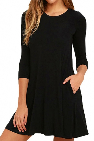 Round Neck 3/4 Sleeve Simple Plain Mini T-shirt Dress with Pockets