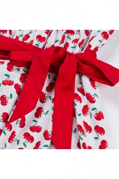 Summer's Fresh Cherry Pattern Round Neck Short Sleeve Retro Midi Flared Dress