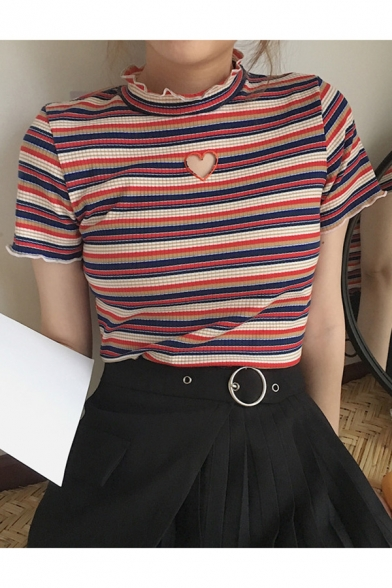 56d3428e8 Colorful Striped Pattern Mock Neck Short Sleeve Slim T-Shirt -  Beautifulhalo.com