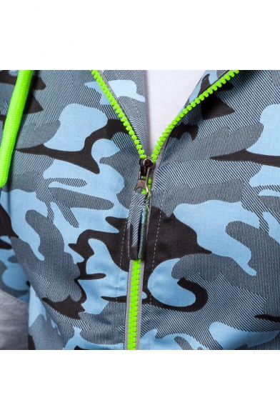Fashion Block Sleeve Color Sports Up Long Camouflage Zip Hoodie Pattern r5arTng