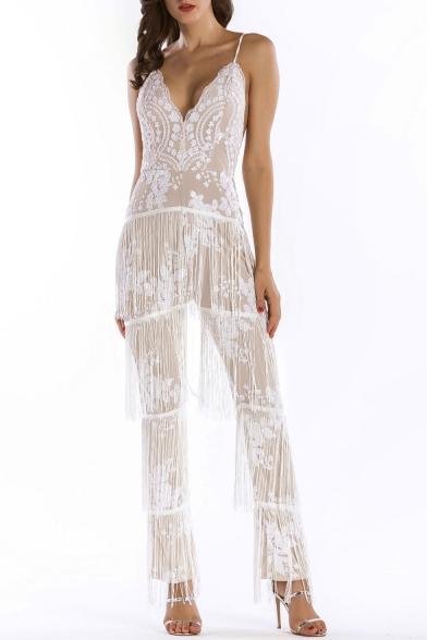 Hot Fashion Sequined Tassel Hem Sexy Spaghetti Straps Chic Jumpsuits