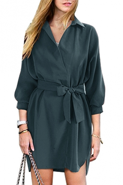New Arrival Chic Elegant Simple Plain Lapel Collar Long Sleeve Midi Shirt Dress