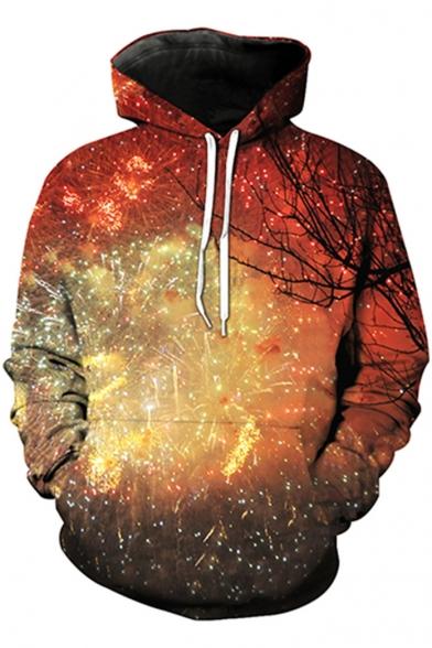 New Fashion Digital Fireworks Pattern Unisex Long Sleeve Sports Hoodie