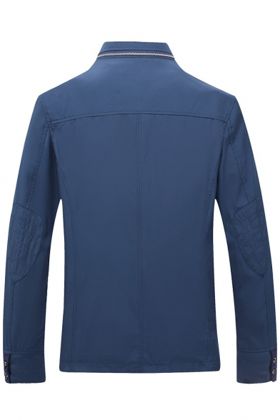 Stand-up Collar Zip Fly Plain Tailored Long Sleeve Jacket