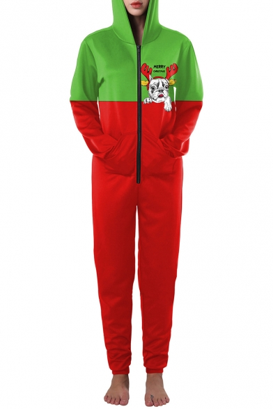Casual Sports Color Block Long Sleeve Hooded Zip Up Jumpsuits
