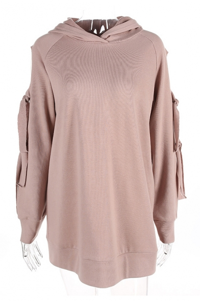 Fashion Knotted Hollow Out Long Sleeve Simple Plain Tunic Hoodie