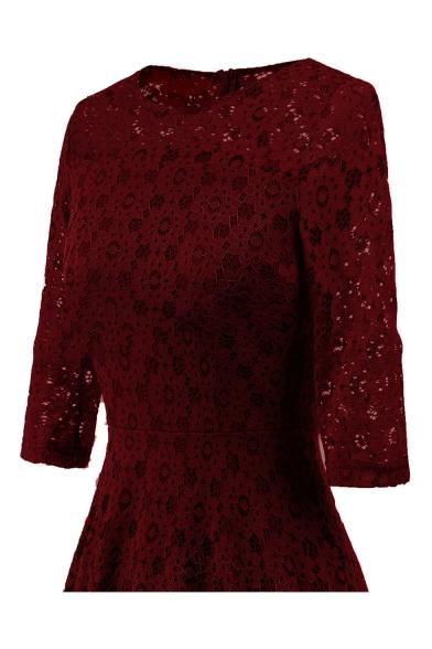 Hot Fashion Basic Plain Round Neck 3/4 Sleeve Lace Inserted Midi A-Line Dress