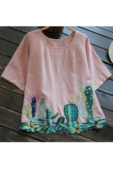 Embroidered New Short Linen Hem Cactus Round Arrival T Fashion Shirt Sleeve Neck qtHSrFtn