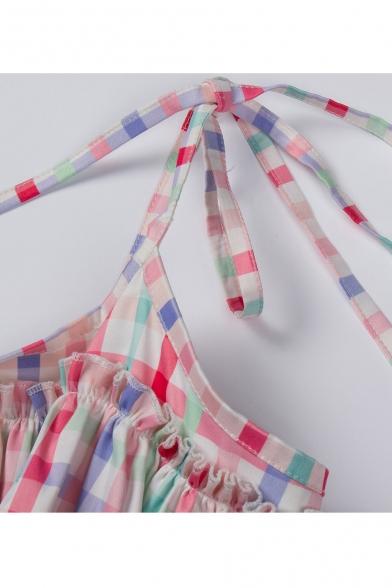 New Spaghetti Retro Flared Midi Arrival Block Pattern Dress Plaids Straps Color 5rSprxwfqY