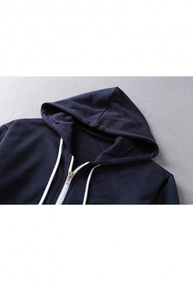 Zip Hoodie Basic Sleeve New Fashion Long Plain Simple Cropped Up TZEwzqwY