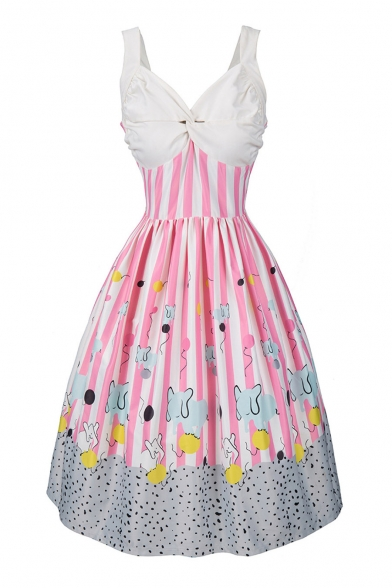 Retro Color Block Striped Pattern Plunge Neck Sleeveless Midi Flared Dress