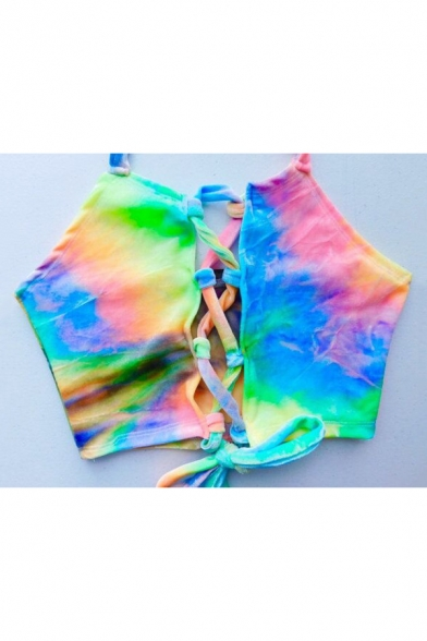 Sexy Lace-Up Hollow Out Front Halter Neck Open Back Chic Tie Dye Swimwear Top